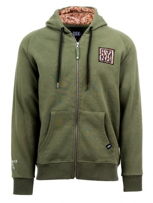 REMEMBER MEN KHAKI ZIPPED HOODY